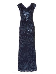Cap sleeve sequin embellished gown