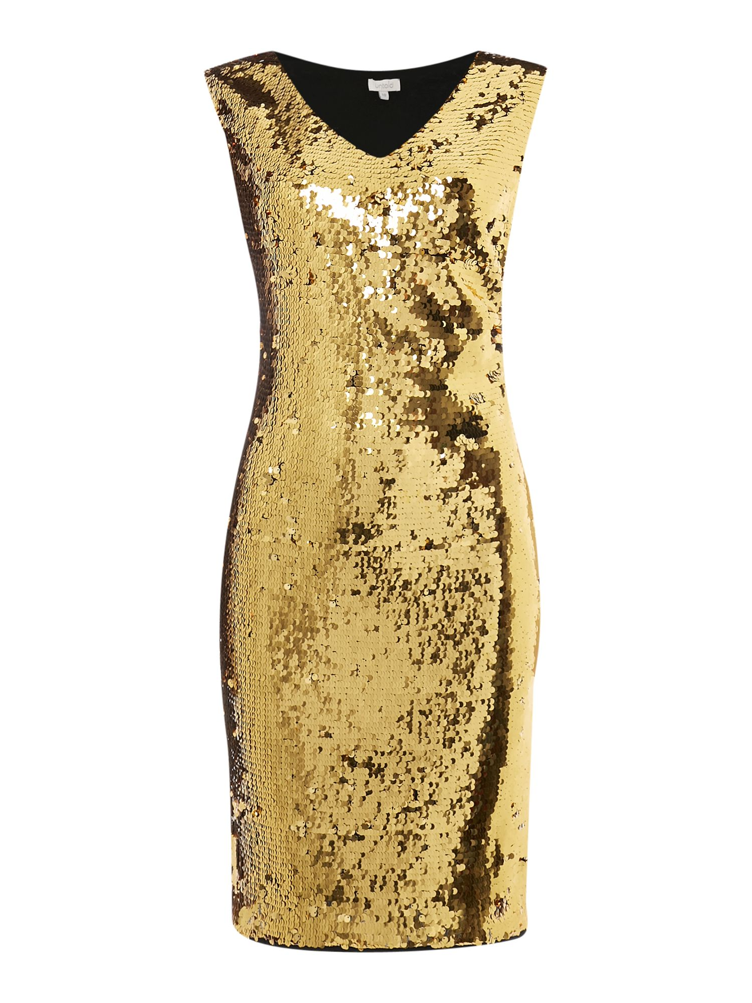 Untold All over beaded dress, Gold