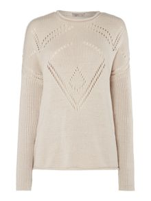 Pointelle pattern knit jumper