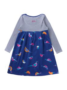 Joules Girls Bird Print Empire Line Long Sleeved Dress