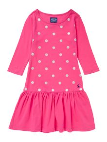 Joules Girls Glitter Spot Long Sleeved Dress