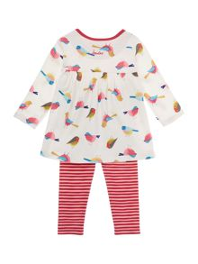 Girls Robin Print Long Sleeved Top With Stripe Tr