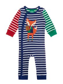 Boys Fox Logo Striped Baby Grow