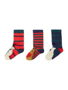 Joules Boys 3 Pack Christmas Themed Socks