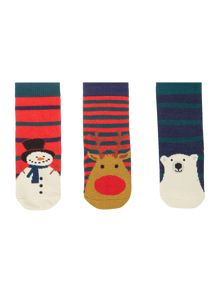 Boys 3 Pack Christmas Themed Socks