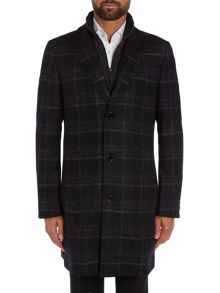 Hugo Boss Logan Crombie Check Coat with Gilet Insert