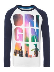 Original Penguin Boys Long Sleeved Northern Light Graphic Tshrit