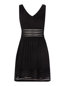V Neck Textured Fit and Flare Dress