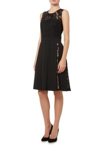 Dickins & Jones Black Dress with Lace Insert Detail