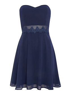 Bandeau Lace Applique Waist Fit and Flare Dress