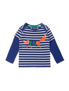 Boys Fox Logo Mock Long Sleeved Top