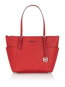 Jetset Travel red zip top tote bag