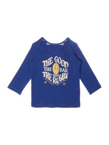 Boys Rugby Slogan Logo Long Sleeved Top