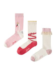 Girls 3 Pack Ballet Themed Socks Set