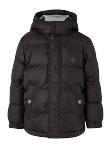 Timberland Boys puffer jacket and its fabric pocket