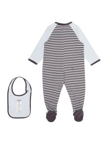 Baby boys pyjamas and its bib