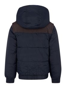 Boys reversible hooded puffer jacket