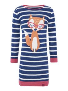 Joules Girls Fox Logo Intarisa Striped Dress