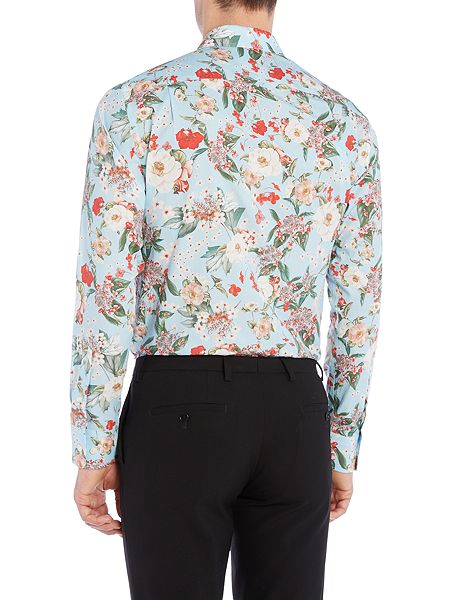 new lingwood bolton flower print shirt blue house of