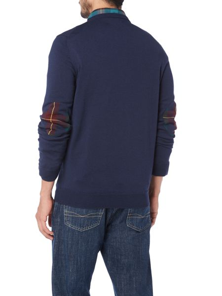 Lyle and Scott Crew Neck Tartan Elbow Patch Pull Over Jumper