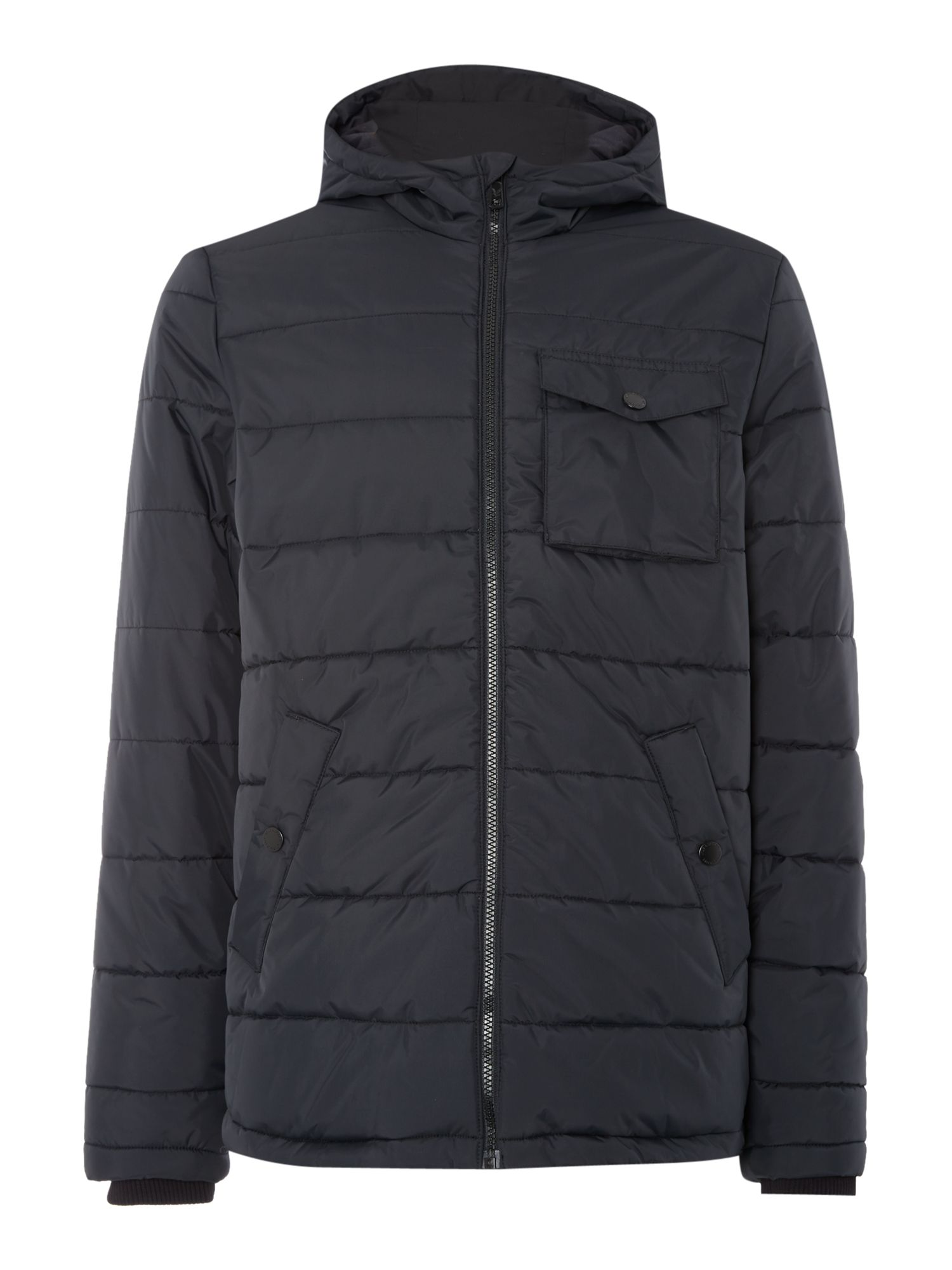 Mens Lyle and Scott Padded Casual Fulll Zip Parka Coat Black