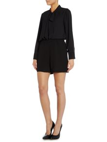 Blouse and shorts playsuit with tie neck