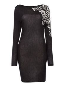 Oui Tunic long sleeve leopard knit dress