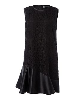 Lace overlay frill dress