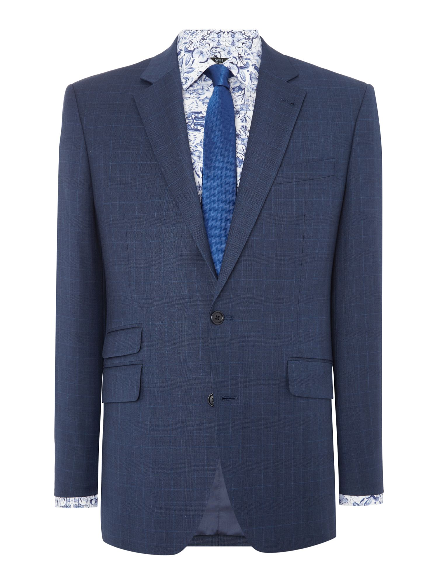 Men's New & Lingwood Eastleigh Check Suit Jacket, Navy