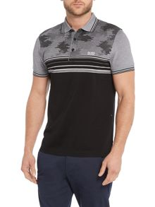 Paule 1 slim fit stripe camo print polo shirt