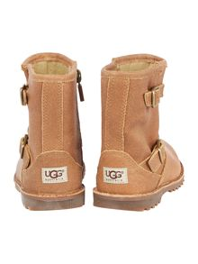UGG Newborn Hannah Suede Boot With Logo Strap