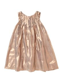 French Connection Girl Metallic Shimmer Dress With Pleats