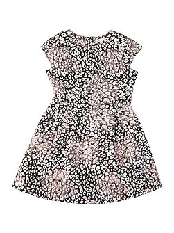 Girl Leopard Print Shimmer Dress With Cap Sleeve