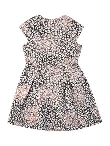 French Connection Girl Leopard Print Shimmer Dress With Cap Sleeve