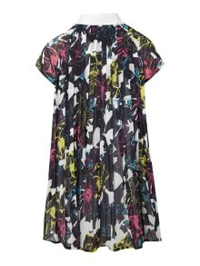 Girl Floral Print Dress With Pleats