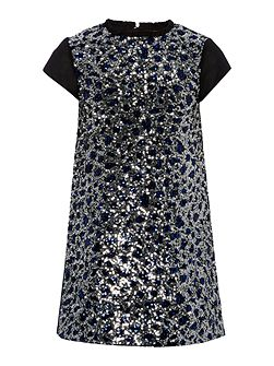 French Connection Girl Sequin Leopard Print Dress With