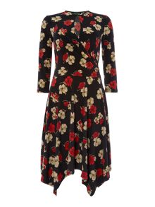 Aiakos 3/4 sleeve wrap dress