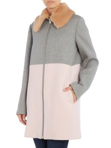 Sportmax Code Block colour faux fur collar coat