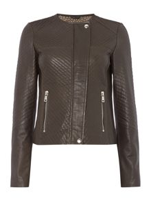 Oui Leather quilted jacket