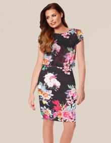 Cap Sleeve Floral Overlay Dress