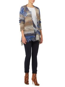 Oui stripe knit coatigan