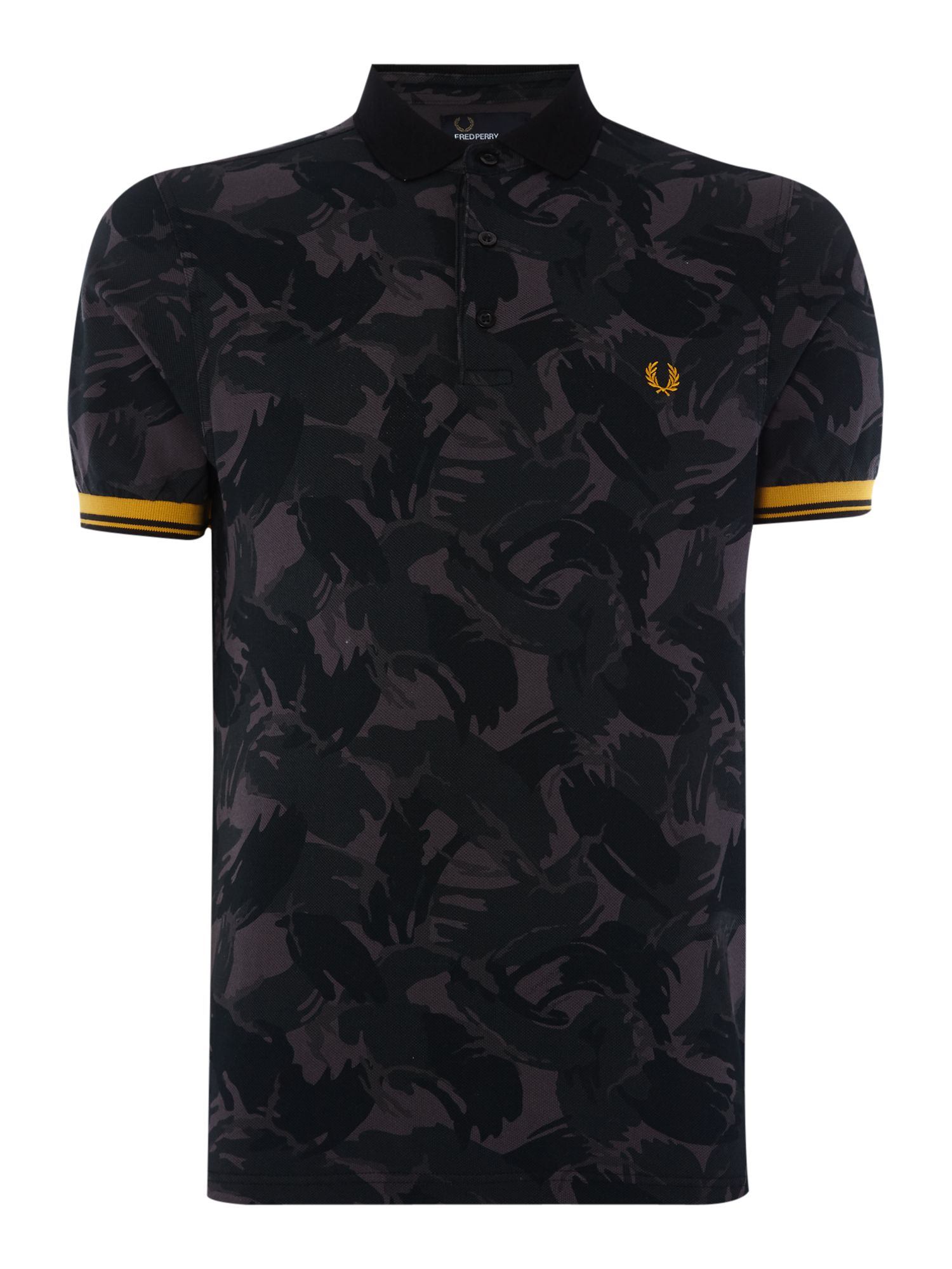 Mens Fred Perry Camouflage Pattern Pique Polo Shirt Black