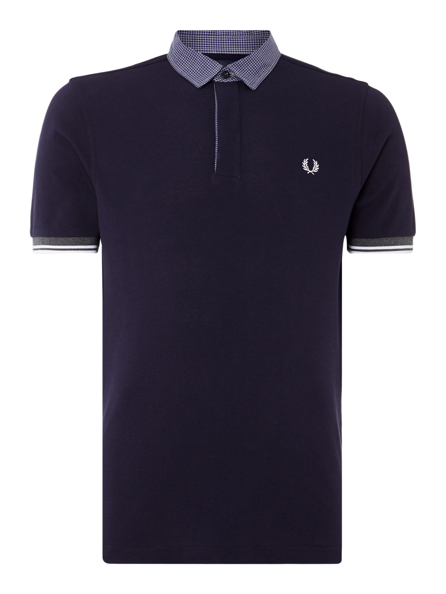 Mens Fred Perry Marl Gingham Trim Pique Polo Shirt Navy