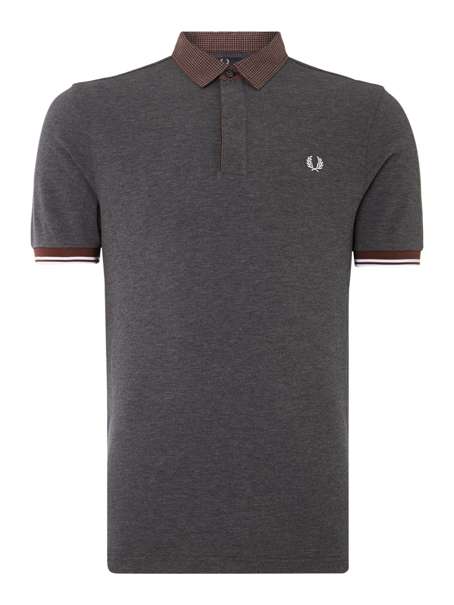 Mens Fred Perry Marl Gingham Trim Pique Polo Shirt Graphite