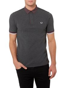 Marl Gingham Trim Pique Polo Shirt