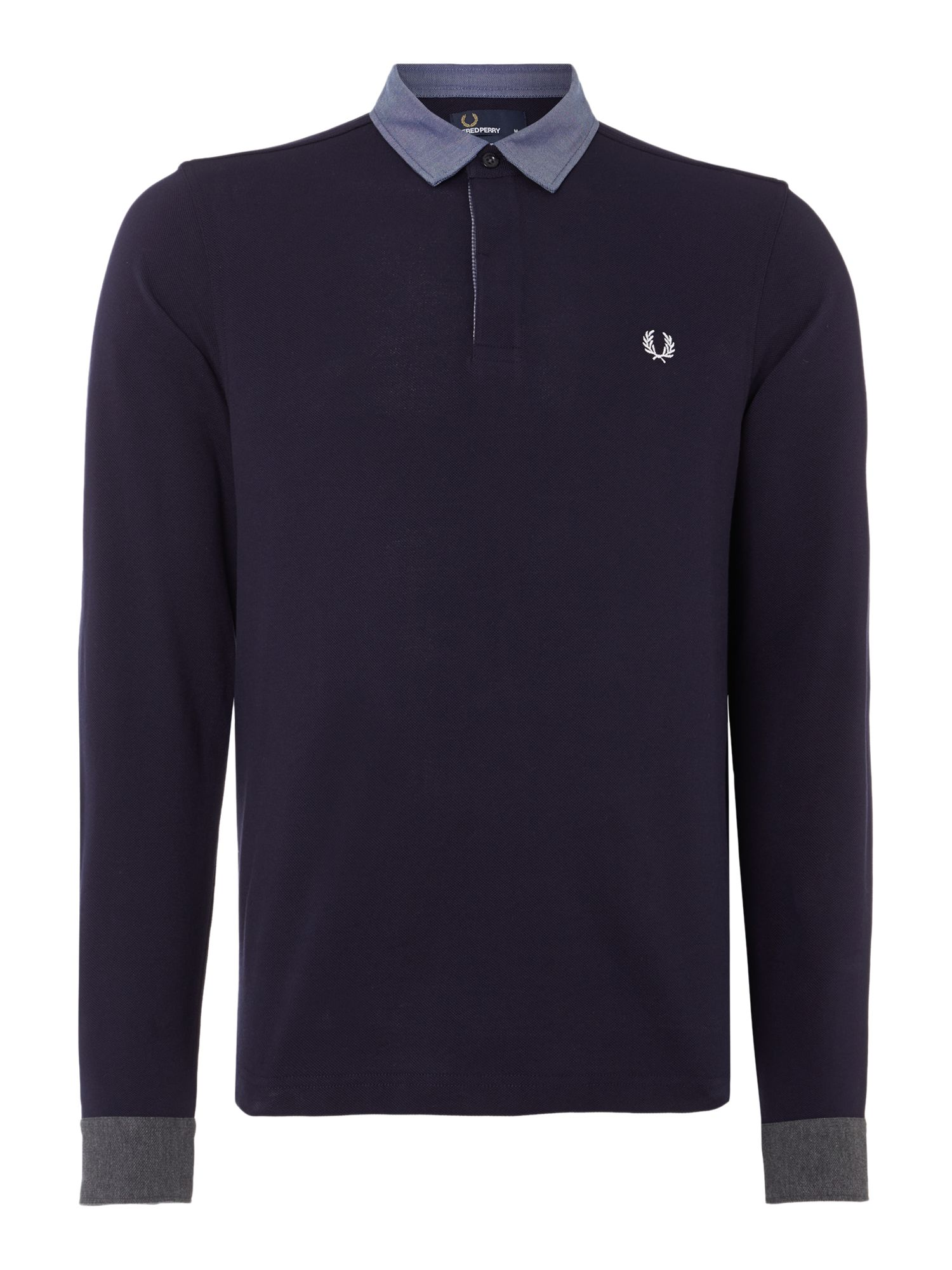 Mens Fred Perry Long Sleeve Woven Trim Pique Polo Shirt Navy