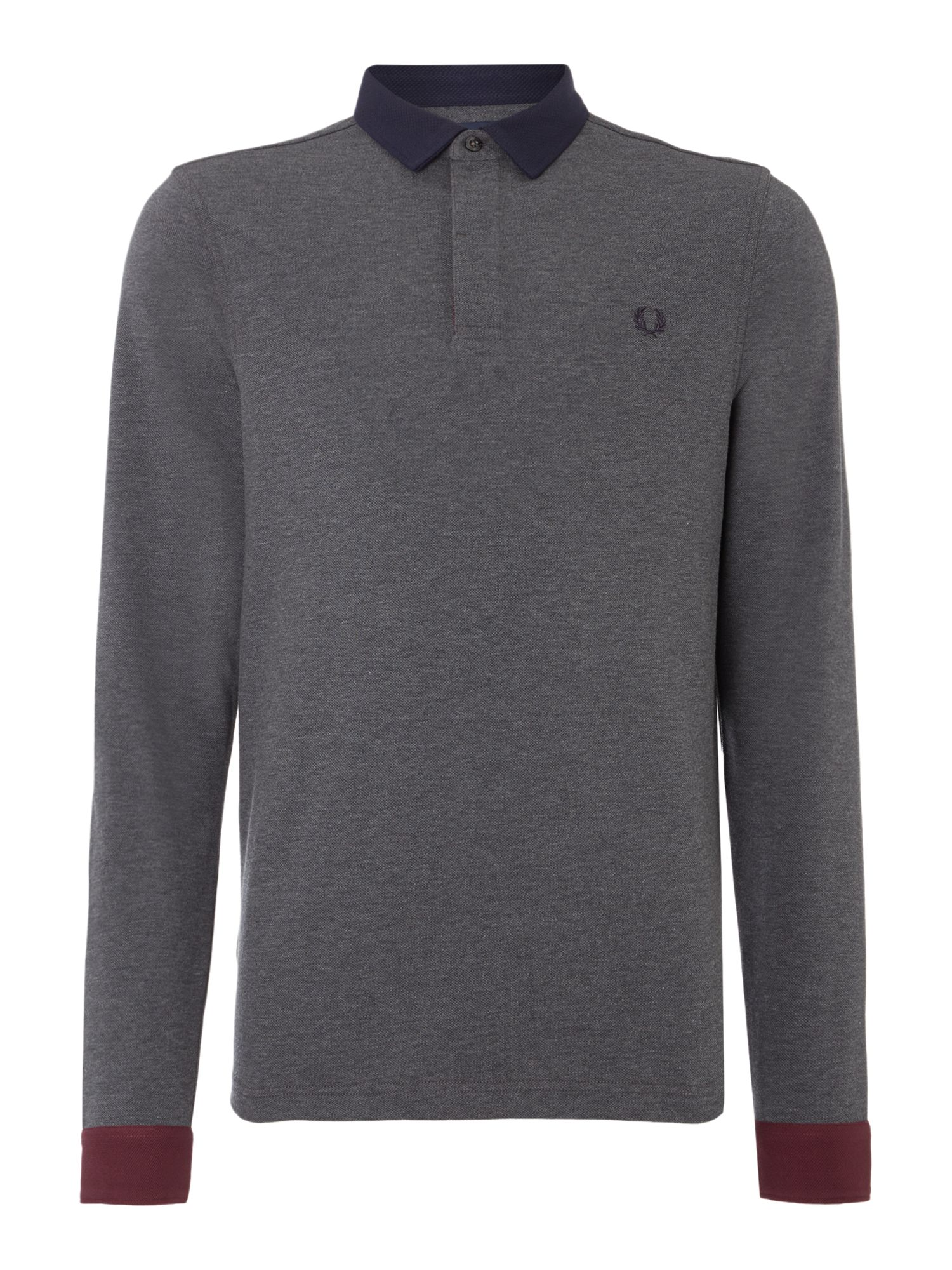 Mens Fred Perry Long Sleeve Woven Trim Pique Polo Shirt Graphite
