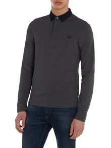 Fred Perry Long Sleeve Woven Trim Pique Polo Shirt