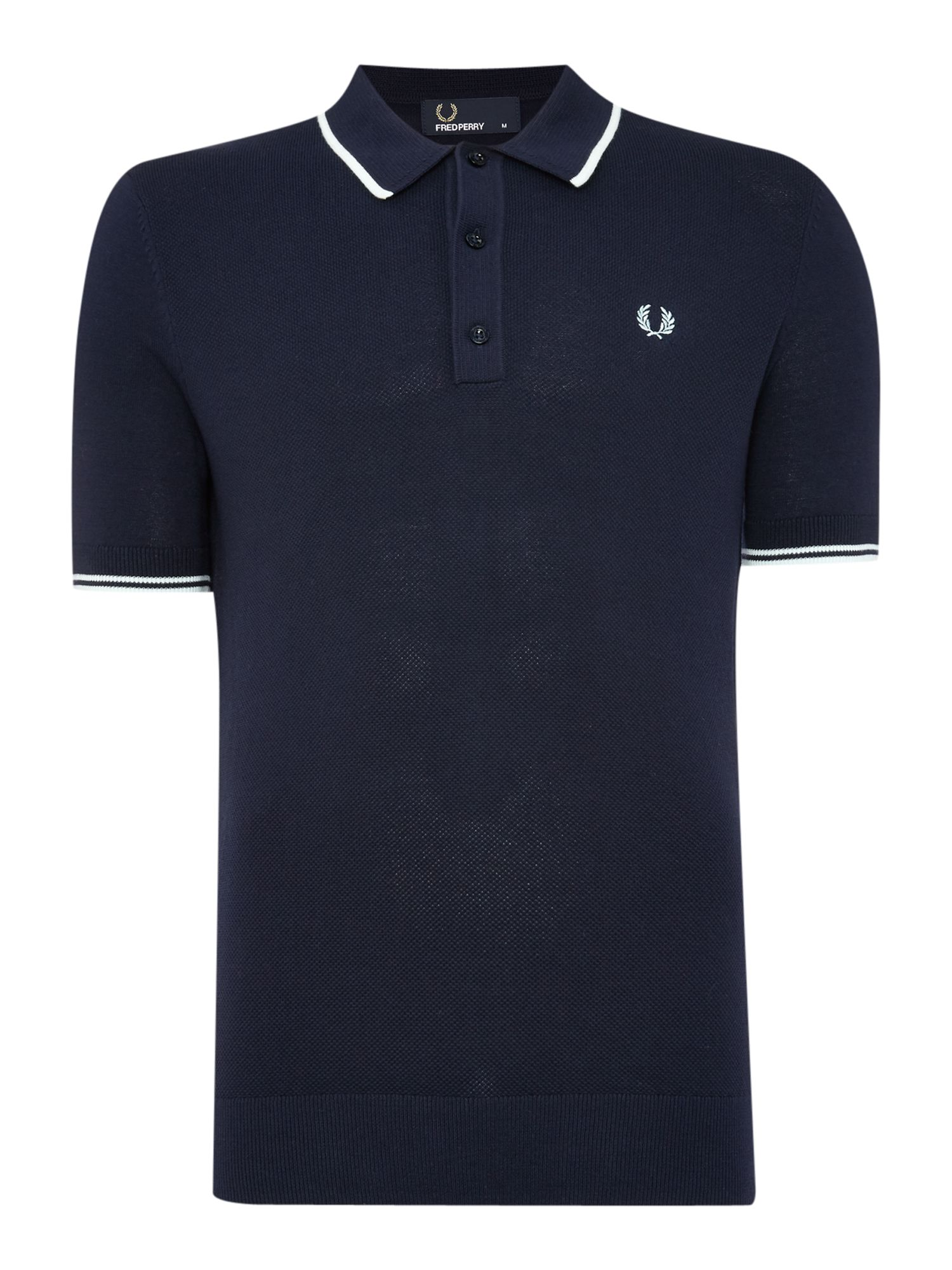Mens Fred Perry Knitted Polo Shirt Dark Blue