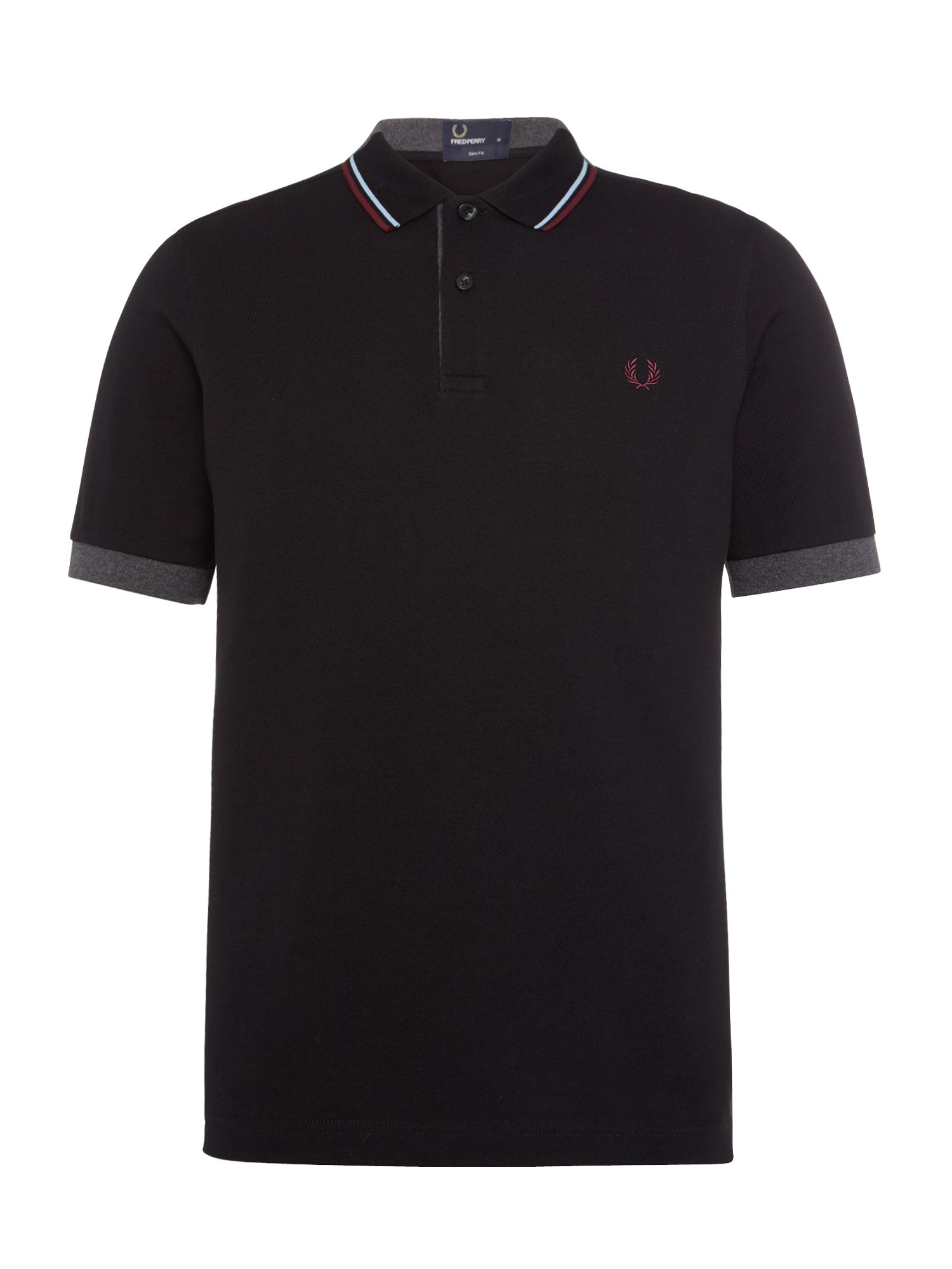 Mens Fred Perry Double Collar Pique Polo Shirt Black